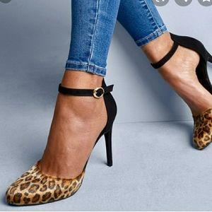 Apt.9 Faux Fur Leopard Memory Foam Heels